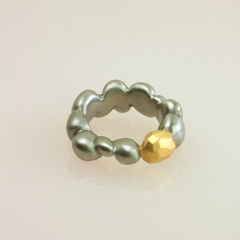 Stainless Steel Concretion Ring with Gold Polygon Inclusion