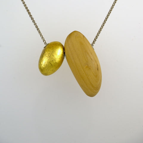 Boxwood Necklace with 24k gold Porcelain