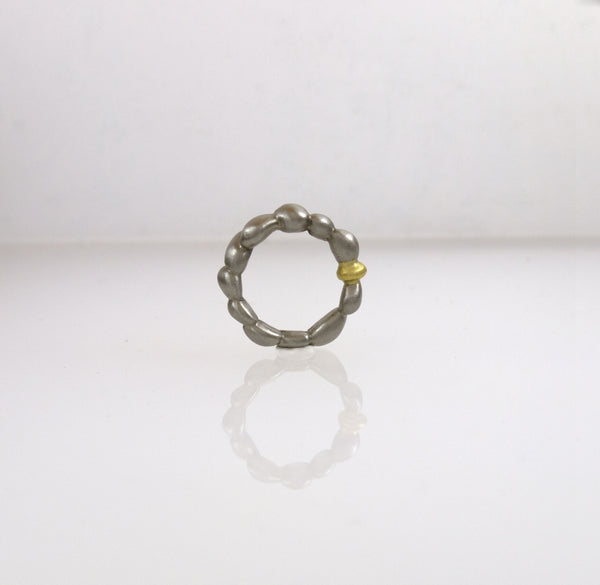 Stainless Steel Concretion Ring with Gold Inclusion