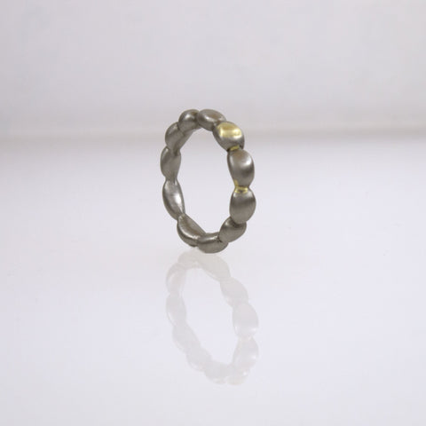 Stainless Steel Narrow Concretion Ring with Gold Inclusions