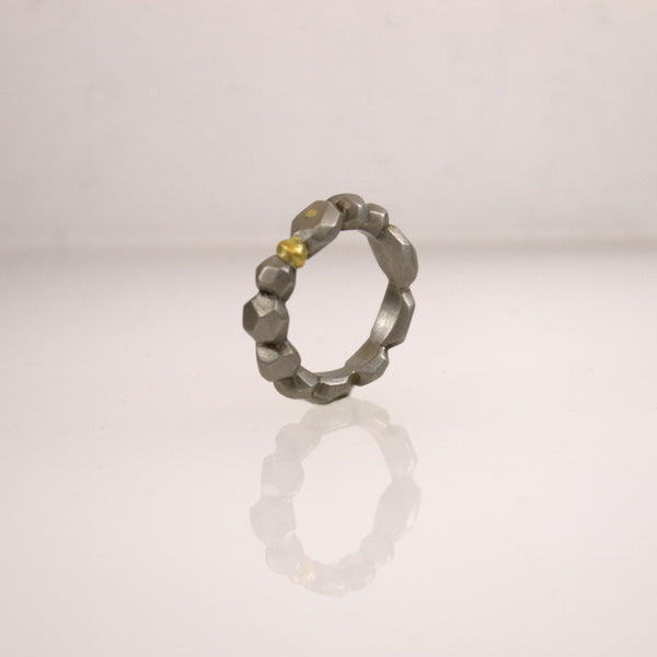 Stainless Steel Polygon Ring with Gold Inclusion