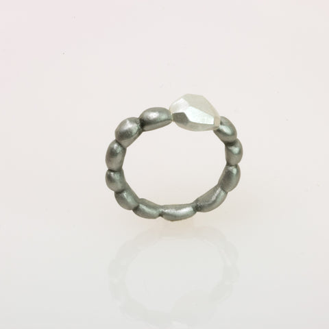 Stainless Steel Narrow Concretion Ring with Silver Polygon Inclusion
