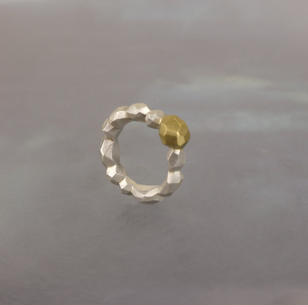 Silver Polygon Ring with Gold Inclusion