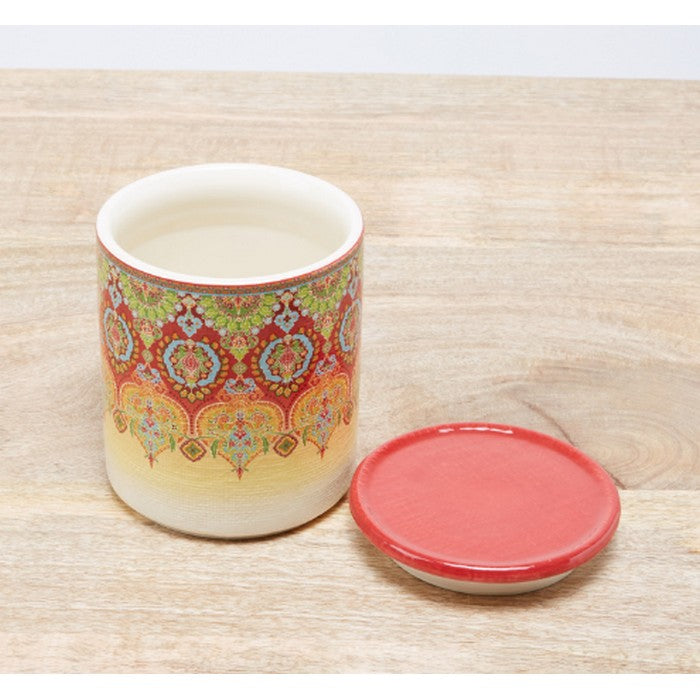 HomeCentre : Ottoman : Printed Canister with Lid