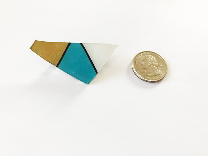 Geometric Shrink Plastic 4 Color Pin / Gold, Turquoise, Black, and White Brooch / Gifts Under 10 Dollars / Ready to Ship / Hipster / Minimal
