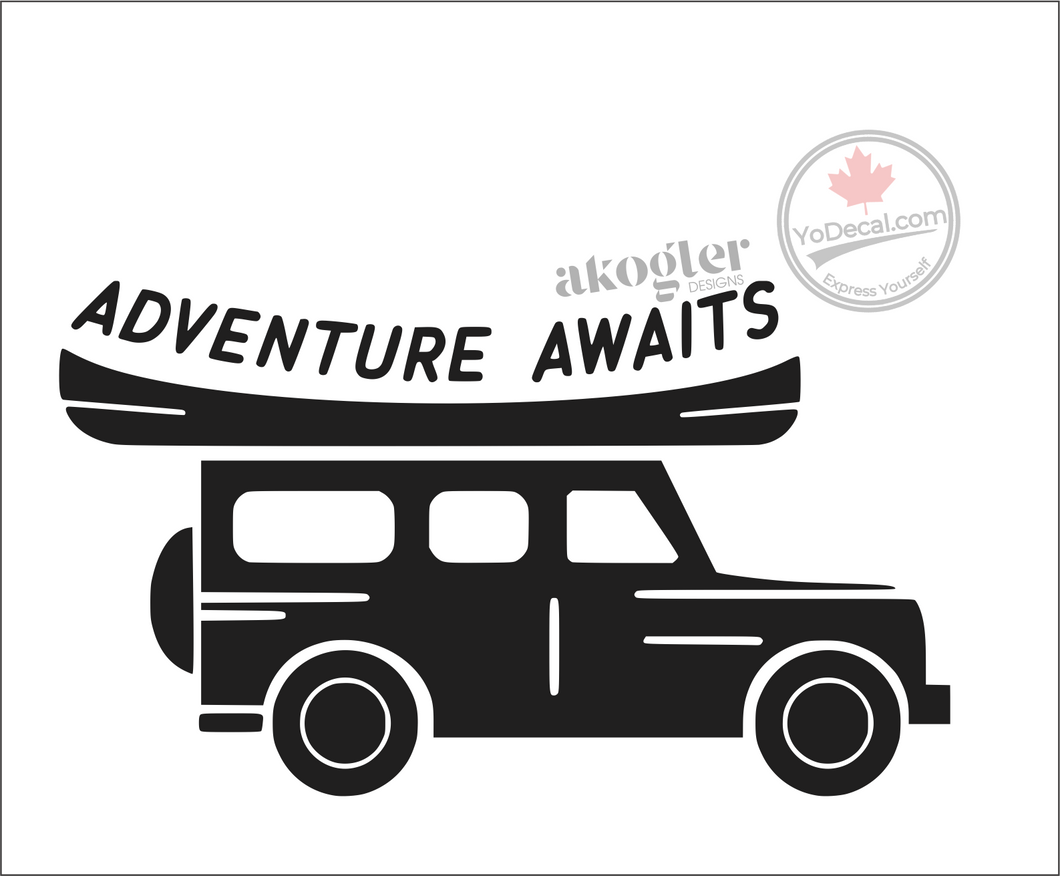 'Adventure Awaits Canoe on Roof' Premium Vinyl Decal