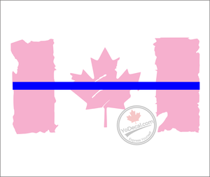 'Canadian Flag Distressed Thin Blue Line' Premium Vinyl Decal