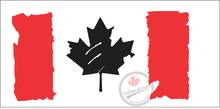 'Canadian Flag Distressed Black Maple Leaf' Premium Vinyl Decal