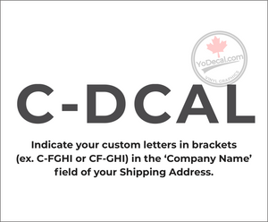 'Custom Canadian Registration Marks Standard Underwing #1' Premium Vinyl Decal