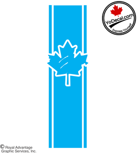 'Canadian Maple Leaf Distressed H-Stripe' Premium Vinyl Decals (Pair)