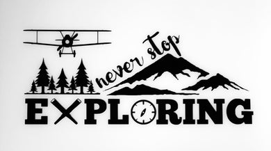 ' Never Stop Exploring Aviation' Premium Vinyl Decal