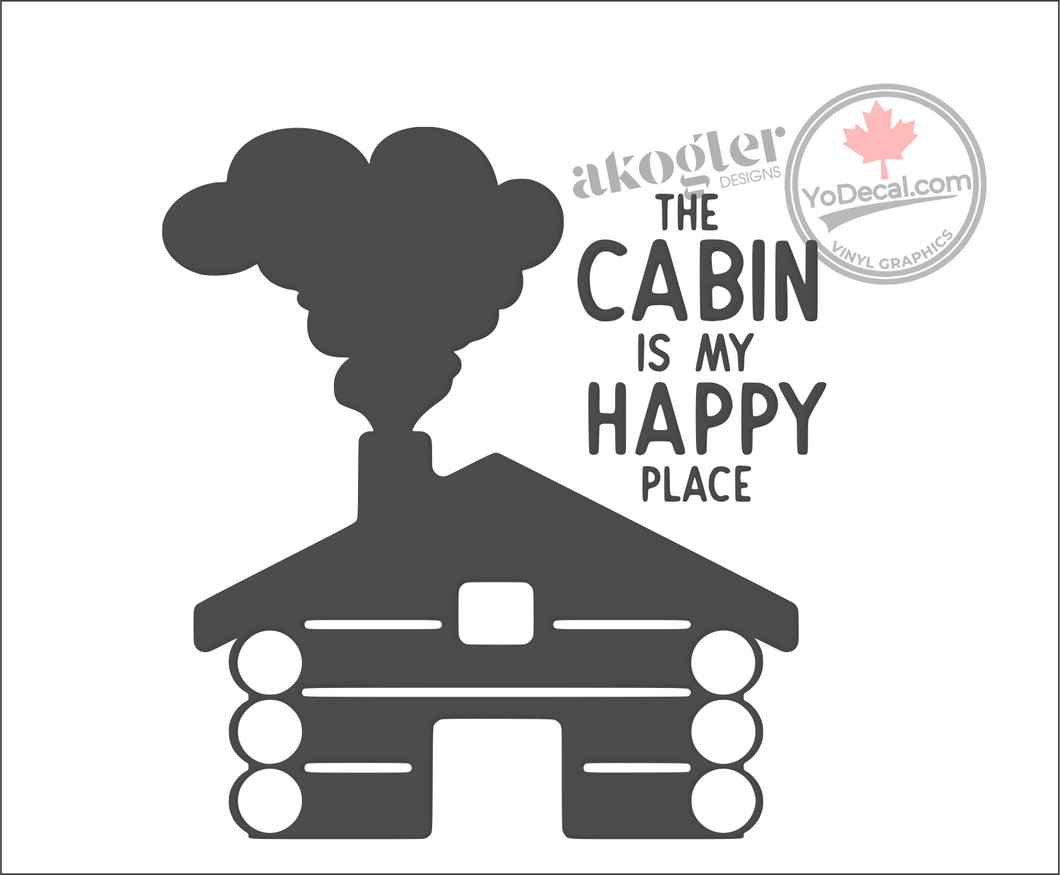 'The Cabin Is My Happy Place' Premium Vinyl Wall Decal