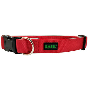 Basics Nylon Padded Collar for Dogs, Red & Grey