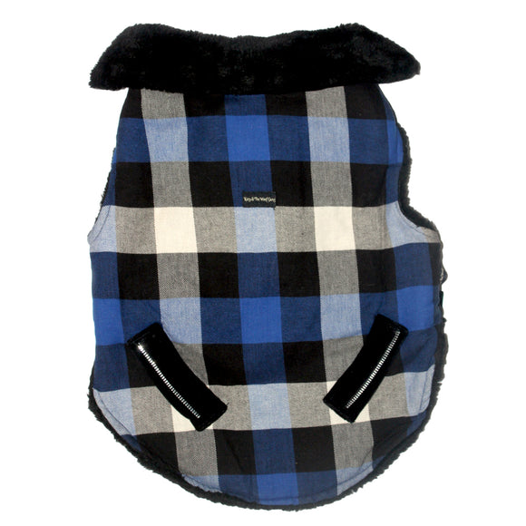Blue & Grey Squared Winter Jackets for Dogs-XOXOtails