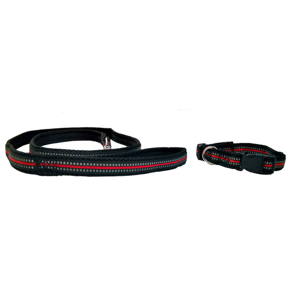 Koala Net Padded Reflective Leash & Collar Set for Dogs, Red & Black
