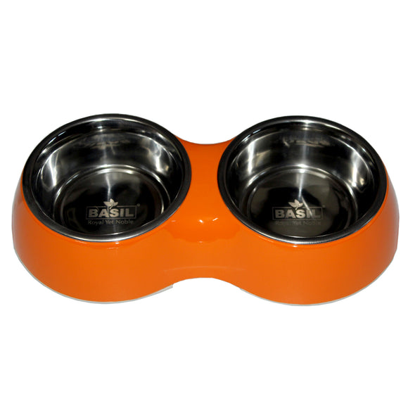 Double Decker Melamine Solid Bowl for Dogs, Orange