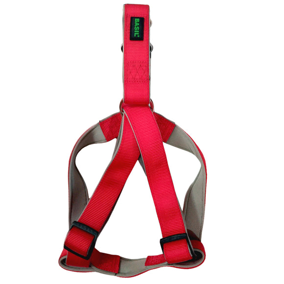 Basics Padded Harness for Dogs, Red & Grey