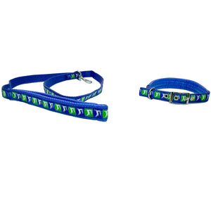 Deer on Rope Leash & Collar Set for Dog, Blue-XOXOtails
