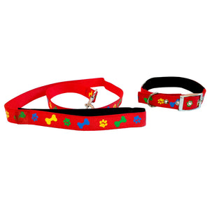 Coloured Paw-Bone Leash & Collar Set for Dog, Red-XOXOtails