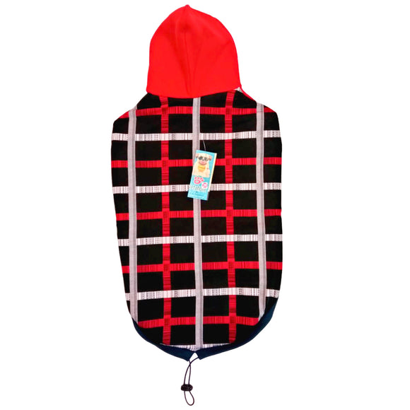 Red Checkers Winter Hoodie for Dogs-XOXOtails