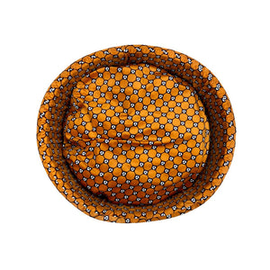 Orange Checkers Basket Bed for Dogs