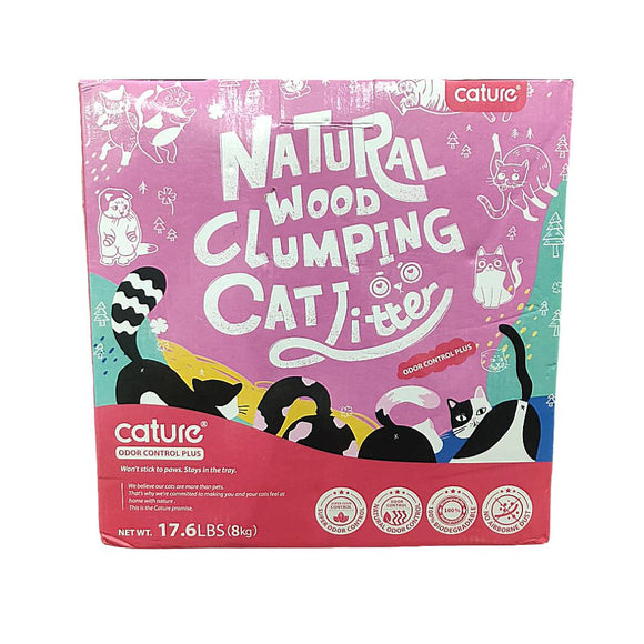 Cature Natural Wood Clumping Cat Litter, ODOR CONTROL PLUS, 8 KG-Cature-XOXOtails