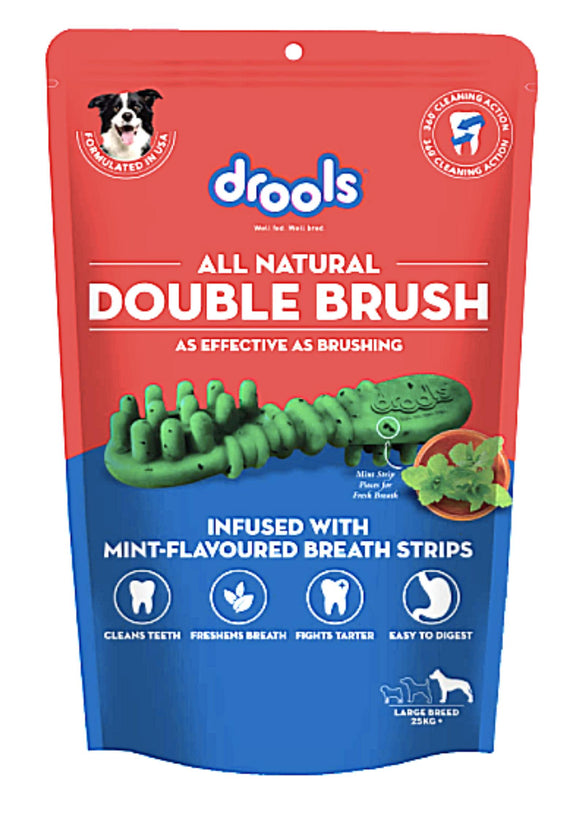Drools Double Brush Dental Treat for Large Breed Dogs - 10 Pieces, 330 G-Drools-XOXOtails
