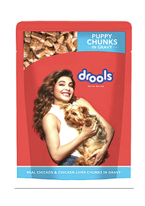 Drools Puppy Wet Dog Food, Real Chicken and Chicken Liver Chunks in Gravy, 150 G-Drools-XOXOtails