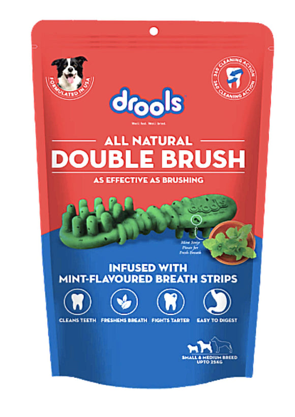 Drools Double Brush Dental Treat for Small/Medium Breed Dogs - 15 Pieces, 300 G-Drools-XOXOtails