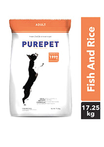 Purepet Fish and Rice Adult Dog Dry Food, 17.25 kg , 1 kg FREE Inside-Purepet-XOXOtails