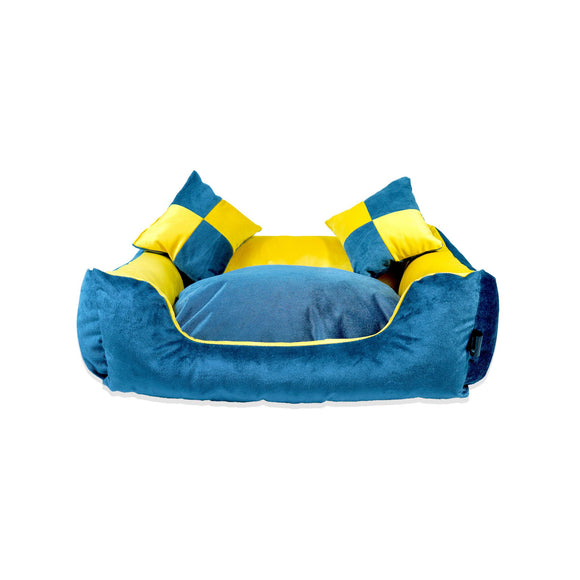 Bella Lounger Bed, Blue & Yellow-XOXOtails-XOXOtails