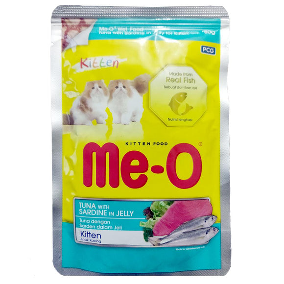 Me-O Tuna With Sardine In Jelly Kitten Cat Food Topper