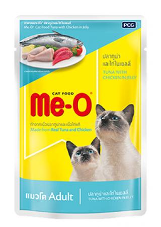 Me-O Tuna With Chicken In Jelly Adult Cat Food Topper