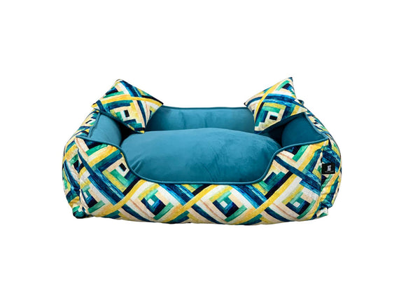 Bella Lounger Bed, Mosaic Green & Turquoise-XOXOtails