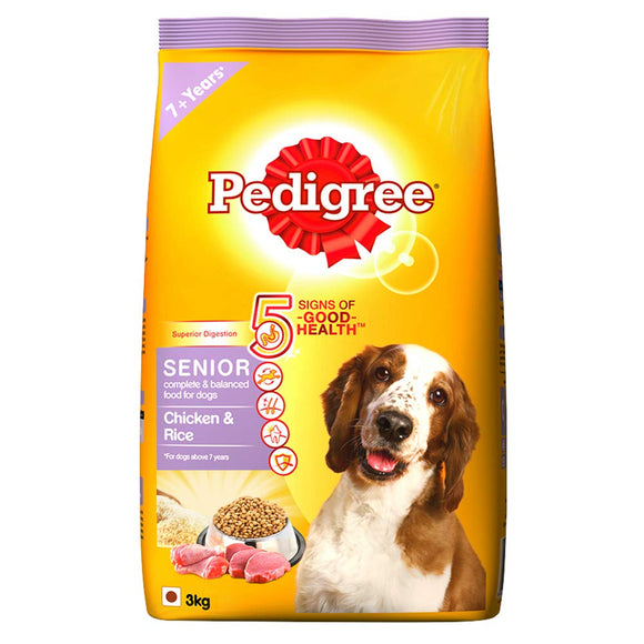Pedigree SENIOR CHICKEN & RICE Dog Dry Food, 3 KG-Pedigree-XOXOtails