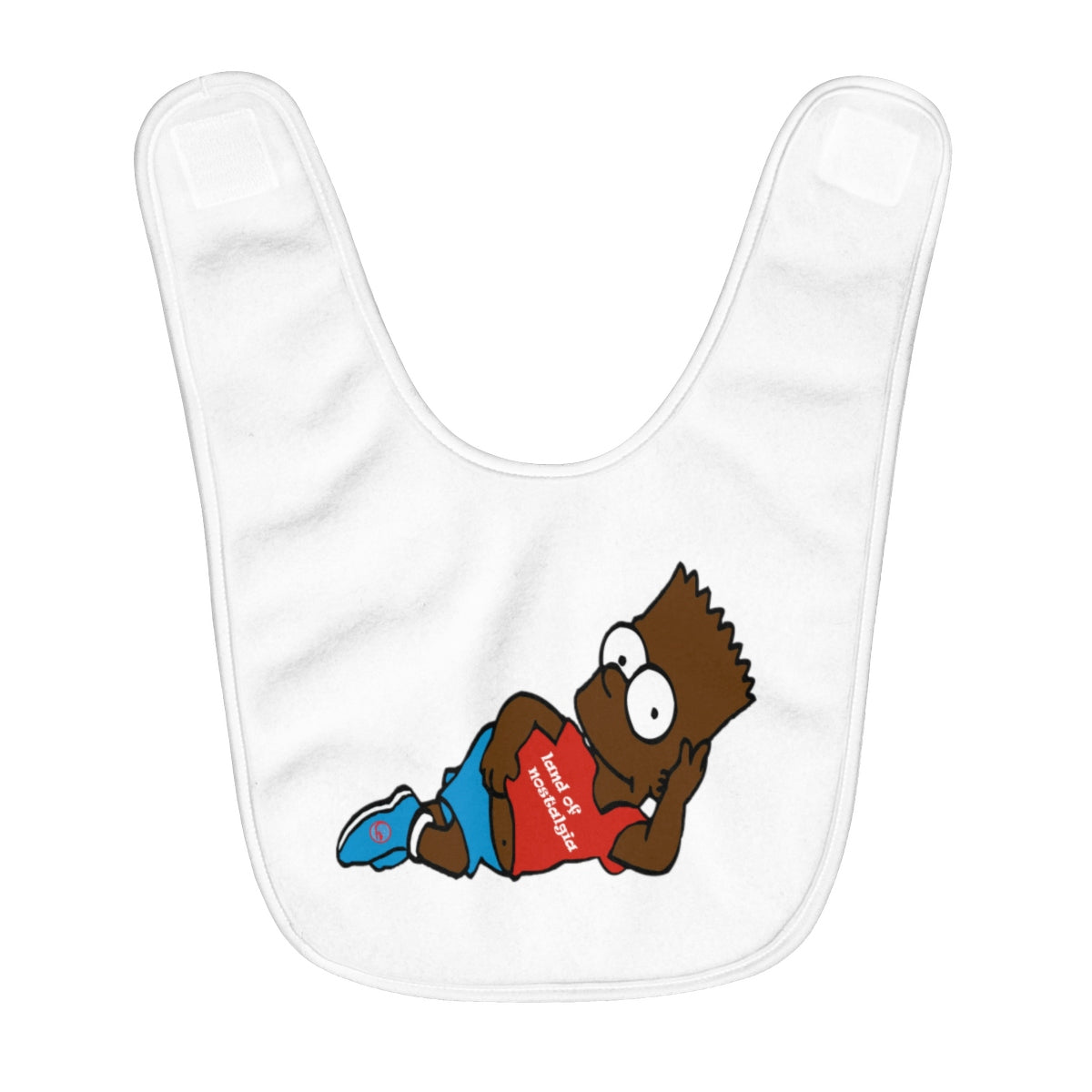 Land of Nostalgia Fleece Custom Baby Bib with 90s B(L)art Design