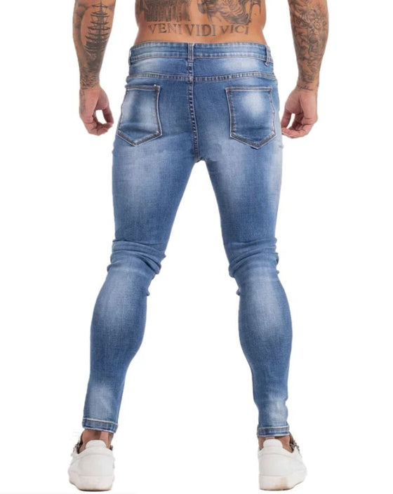 Land of Nostalgia Distressed Men's Stretch Elastic Waist Skinny Slim Fit Ripped Jeans