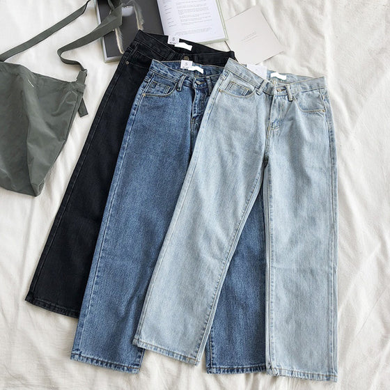 Land of Nostalgia Loose Straight Trousers Pants Women's Casual Denim Jeans