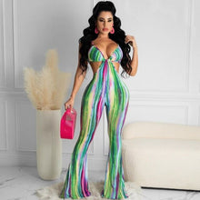 Land of Nostalgia Women's Sleeveless Strap Hollow Out Bodycon Summer Flare Jumpsuit