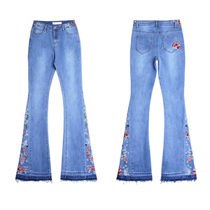 Land of Nostalgia Flares Trousers Wide Leg Embroidered Pants Women's Denim Jeans