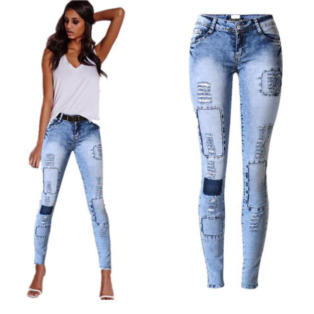 Land of Nostalgia Women's Shredded Skinny Denim Trouser Ripped Patches Stretch Jeans Pants
