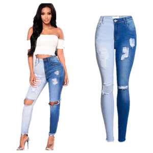 Land of Nostalgia Women's Stretch Trousers Skinny Ripped Denim Jeans Pants