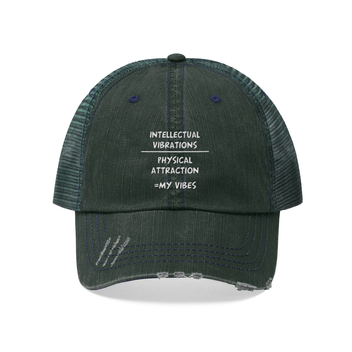 Land of Nostalgia Intellect Over Physical Unisex Trucker Hat
