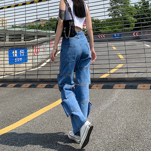 Land of Nostalgia High Waist Straight Hole Hollow Out Women's Streetwear Trousers Jeans