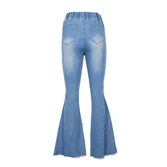 Land of Nostalgia Elastic Waist Stretch Damage Trousers Women's Flare Pants Jeans