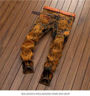 Land of Nostalgia Streetwear Men's Fashion Hip Hop Hole Pants Skinny Ripped Jeans