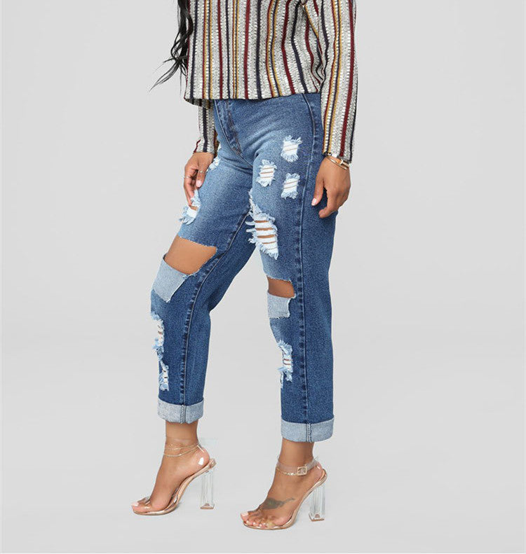 Land of Nostalgia Plus Size Ripped Pants Women's Denim Jeans