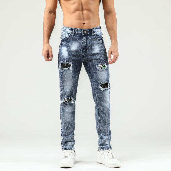 Land of Nostalgia Men's Skinny Trousers Stacked Ripped Jeans