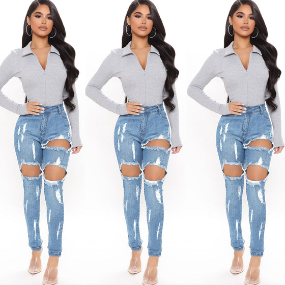 Land of Nostalgia Women's Skinny Tight Ripped Blue Denim Jeans
