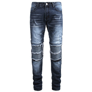 Land of Nostalgia Men's Plus size Elastic Pleated Jeans with Hole